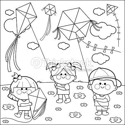 Niños Volando Cometas Libro Para Colorear Página Arte vectorial ...