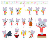 A set of mouse girl on classical music performances.There are actions to play various instruments such as string instruments and wind instruments.It's vector art so it's easy to edit.