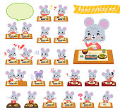 A set of mouse girl about meals.Japanese and Chinese cuisine, Western style dishes and so on.It's vector art so it's easy to edit.