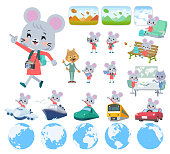A set of mouse girl on travel.There are also vehicles such as boats and airplanes.It's vector art so it's easy to edit.