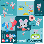 A set of mouse girl who control emotions.A variety of image illustrations expressing self emotion.It's vector art so it's easy to edit.