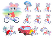 A set of mouse girl riding a city cycle.There are actions on manners and troubles.It's vector art so it's easy to edit.