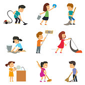 children help their parents with household chores. vector illustration.