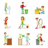 Children Helping With Home Cleanup, Washing The Floor, Throwing Out Garbage And Watering Plants. Kids Cleaning Indoors With Clean-Up Inventory For Housekeeping Set Of Vector Illustrations.