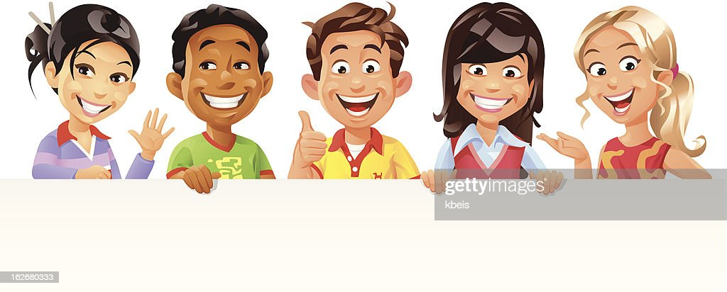 Children Holding a Blank Sign : Vector Art