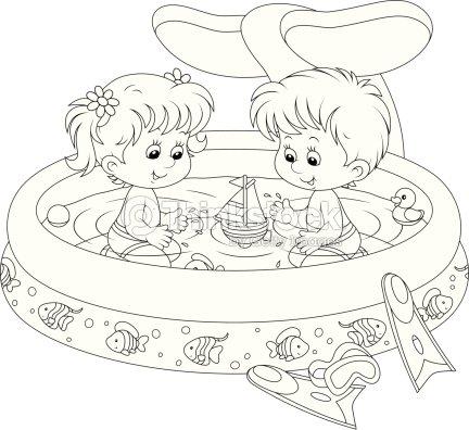 Enfants dans la piscine pour enfants clipart vectoriel for A la piscine dessin