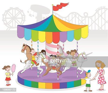 Children in Carousel : Vector Art