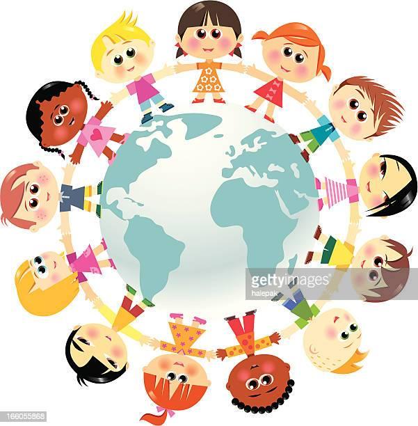 Children in unity around the world