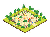 Children Park Concept 3d Isometric View for Web and App Design. Vector illustration of Outdoor Kid Playground