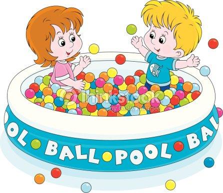 Enfants samuser dans la piscine balles clipart vectoriel - Clipart piscine ...