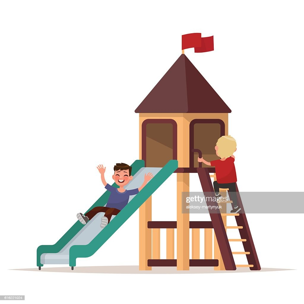 Children play on the playground. Vector illustration : Vector Art