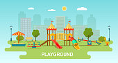Children playground. Kindergarten playground with swings, slide,  toy giraffe, carousel, sandbox. Flat style vector illustration