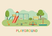 Children playground. Kindergarten playground with swings, slide, toy giraffe, carousel, sandbox. Flat vector illustration