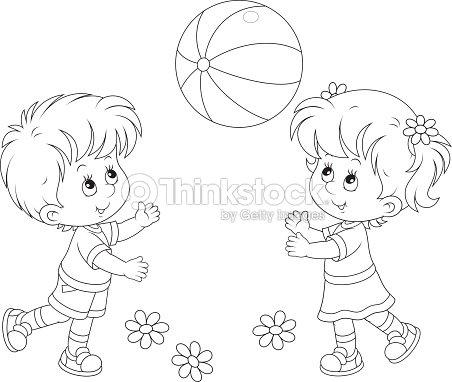 Niños Jugando Con Un Balón Arte vectorial | Thinkstock