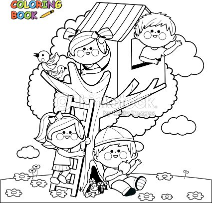 Children Playing In A Tree House Coloring Book Page Vector Art