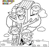 Vector Illustration of children playing in a tree house and climbing on a tree. Coloring book page.