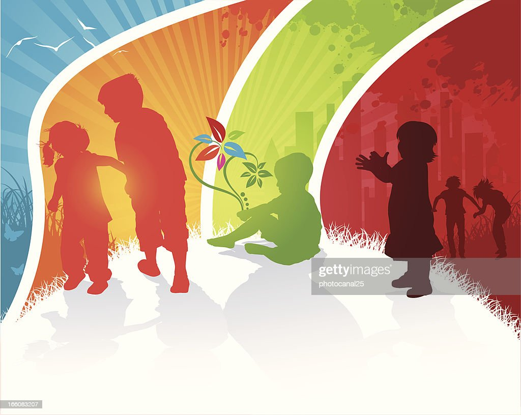 Children Playing in Colour : Vector Art