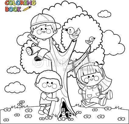 Niños Jugando En Un árbol Libro Para Colorear Página Arte vectorial ...