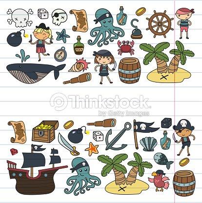 Niños Jugando A Piratas Niños Y Niñas De Kinder Escuela Preescolar ...