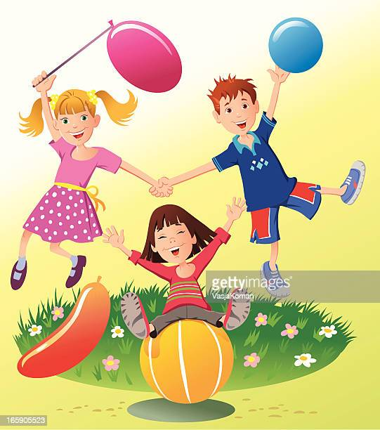 Children Playing with Balls and Balloons