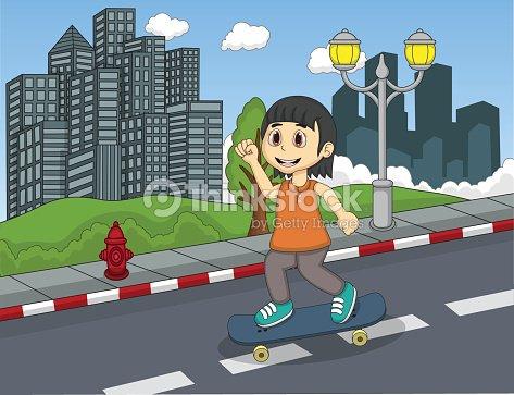 Children riding skateboard on the street cartoon
