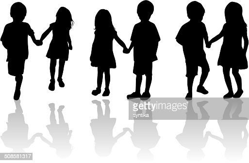 Children silhouettes : Vector Art