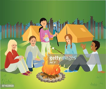 Children Sitting Around Camp Fire Talking and Laughing : Vector Art