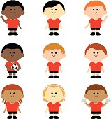 A set of vector multi ethnic group of children football players.