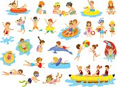 Children summer holidays fun activities at beach on water. Boys and girls swim, dive, jump, sliding in aquapark, floating on inflatable mattresse, eating ice cream and watermelon, building making sand
