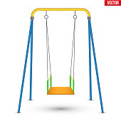 Children swing front view. Vector Illustration isolated on white background.
