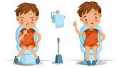 boy is sitting on the toilet. Conversely, emotions and gestures. Constipation, normal digestive system, Bad, excellent. Children's Health Concept. Vector illustrations isolated on white background.