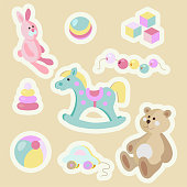 Kids toys cartoon style pastel vector sticker set.