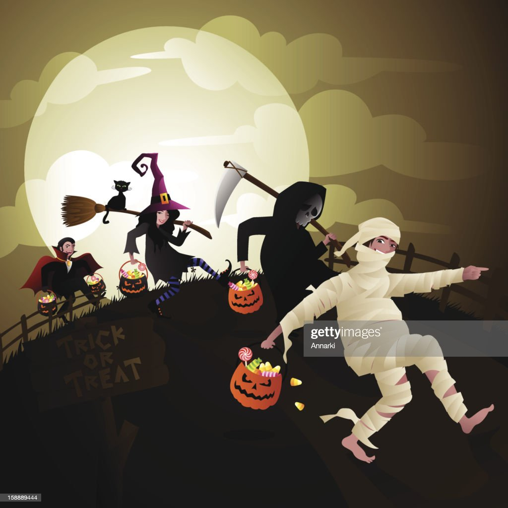 Children Trick or Treat on Halloween Vector : Vector Art