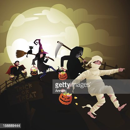 Children Trick or Treat on Halloween Vector : Vectorkunst