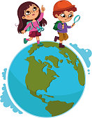 Children walking on planet. (Vector illustration)