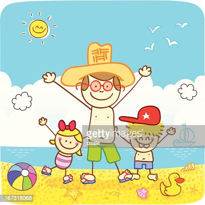 children with father at beach cartoon illustration : Vector Art