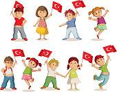 Vector illustration of children with Turkish flag. 23 Nisan Çocuk Bayrami, April 23 Turkish National Sovereignty and Children's Day.