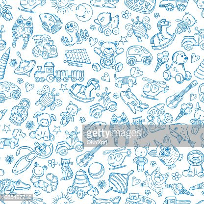Children with toys. Seamless pattern with vector hand drawn illustration : stock vector