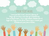 Vector background with clouds, sky, children's hands up and place for your text. Template for advertising brochure. Ready for your message.