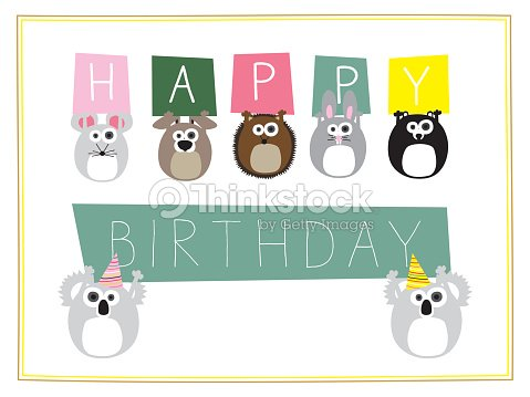 Childrens Birthday Card With Animals Holding Signs Vector Art