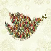 Huge group of children making a dove of peace silhouette. Layered file for easy edition.