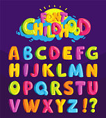 Set of multicolored bright letters for inscriptions. Vector illustration of an alphabet.