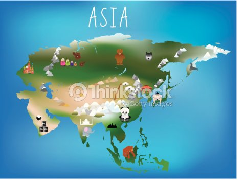 childrens map asia and asian continent with landmarks and anima vector art