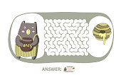 Children's maze with bear and honey. Cute puzzle game for kids, vector labyrinth illustration.