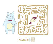 Children's maze with cat and fish. Cute puzzle game for kids, vector labyrinth illustration.