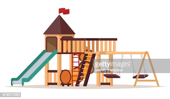 Children's playground with swings and slides on white background : Vektorgrafik