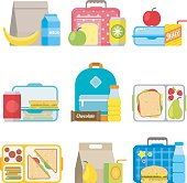 School lunch boxes set. Children's lunch bags and trays with hamburgers, soda, frits and other food. Kids school lunches icons in flat style.