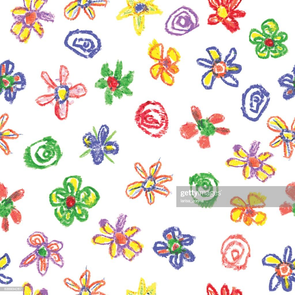 Child's drawing of flowers : Vector Art