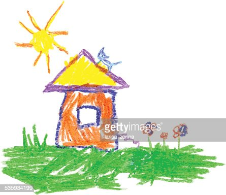 Child's drawing of house : Vector Art