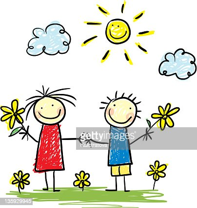 Child-style illustration of two happy kids under the sun : Vector Art